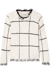 By Malene Birger Tapania Fringed Checked Cotton Blend Boucle Sweater White