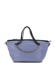 Halston Chain Trim Two Tone Leather Satchel Lavender