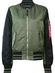 Alpha Industries 'Ma 1 Slim Varsity' Jacket Green