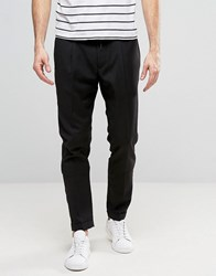 Casual Friday Slim Fit Trousers With Drawstring Waist Black