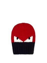 Fendi Bag Bugs Knitted Hat Red