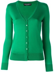 Dolce And Gabbana V Neck Cardigan Green