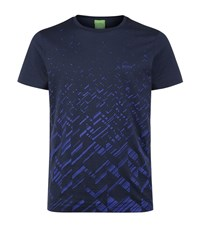 Hugo Boss Green Tee Scattered Logo T Shirt Male Navy