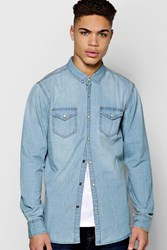 Boohoo Sleeve Mid Wash Denim Shirt Blue