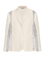 Nina Ricci Single Breasted Sheer Panel Boucle Tweed Jacket