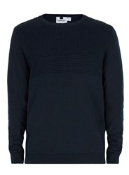 Topman Navy Textured Crew Neck Jumper Blue