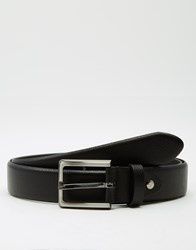 Selected Leather Belt With Pebble Grain Black