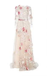 Marchesa Tulle A Line Ball Gown Nude