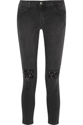 Current Elliott The Stiletto Embellished Low Rise Skinny Jeans Black