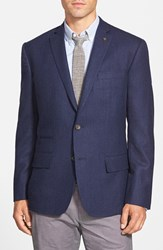 Men's Big And Tall Wallin And Bros. Trim Fit Solid Wool Sport Coat Indigo