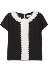 Red Valentino Paneled Silk Crepe De Chine Top