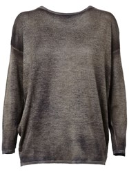 Avant Toi Boat Neck Batwing Relaxed Fit Jumper Brown