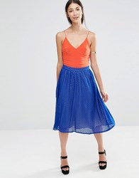Little Mistress Pleated Midi Skirt Blue