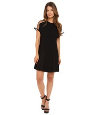 Red Valentino Crepe Envers Satin And Soft Point D'esprit Dress Black