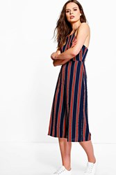 Boohoo Striped Culotte Style Jumpsuit Navy