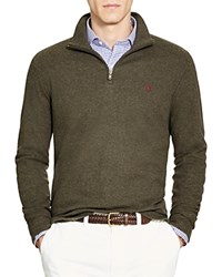 Polo Ralph Lauren Cashmere Touch Half Zip Sweater Olive Heather