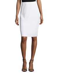 St. John Signature Santana Knit Pencil Skirt Bright White