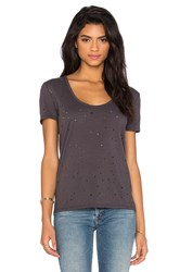 Bobi Slubbed Ripped Holes Scoop Neck Tee Charcoal