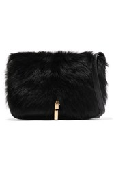 Elizabeth And James Cynnie Leather Shearling Shoulder Bag Black