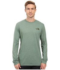 The North Face Long Sleeve Red Box Tee Duck Green Light Heather Climbing Ivy Green Men's Long Sleeve Pullover