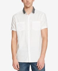 Kenneth Cole Reaction Men's Contrast Collar Short Sleeve Shirt White