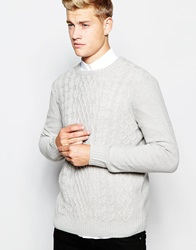 New Look Cable Knit Jumper With Crew Neck Oatmeal