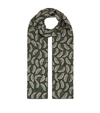 Burberry Shoes And Accessories Leaf Print Silk Scarf Female Green