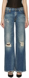 R 13 Blue Faded And Distressed Jane Jeans