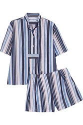The Sleep Shirt Striped Cotton Oxford Pajamas Storm Blue