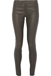Vince Leather Skinny Pants Gray