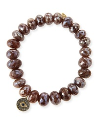 8Mm Faceted Brown Silverite Beaded Bracelet With 14K Diamond Evil Eye Disc Charm Sydney Evan