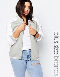 New Look Plus Jersey Baseball Bomber Jacket White Grey