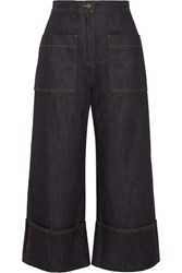 Fendi High Rise Wide Leg Jeans Dark Denim