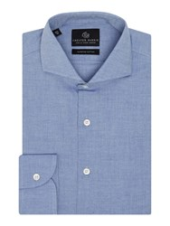 Chester Barrie Herringbone Tailored Fit Long Sleeve Shirt Blue