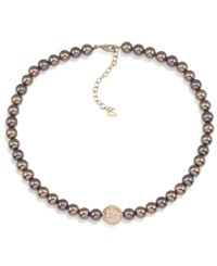 Carolee Necklace Brown Glass Pearl Strand Necklace