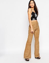 Motel Lexi Flared Trousers In Faux Suede Tan