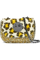 Hill And Friends Happy Tweency Leopard Print Calf Hair Shoulder Bag Yellow