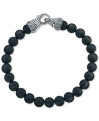 Esquire Men's Jewelry Hematite 8Mm Beaded Bracelet In Sterling Silver First At Macy's Black