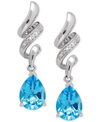 Macy's Blue Topaz 2 5 8 Ct. T.W. And Diamond Accent Squiggle Earrings In Sterling Silver