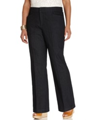 Jm Collection Plus Size Twill Straight Leg Trousers Midnight Wash