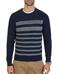 Nautica Breton Striped Textured Sweater Navy