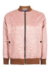 Topshop Quilted Bomber Jacket Pink