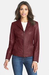 Cole Haan Petite Women's Lambskin Leather Scuba Jacket Deep Berry