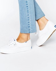 Keds Classic Leather Plimsoll Trainers White