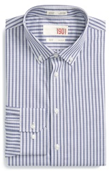 1901 Trim Fit Non Iron Check Dress Shirt Navy Patriot
