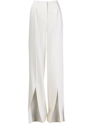 Off White Front Slit Wide Leg Trousers