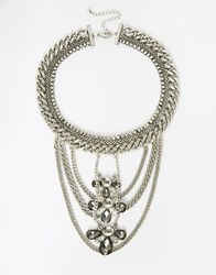 Asos Statement Chain Bib Necklace Silver