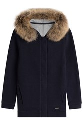 Woolrich Cardigan With Wool And Cotton And A Fur Trimmed Hood Blue