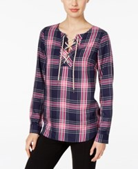 G.H. Bass And Co. Plaid Lace Up Top Only At Macy's Deep Navy Combo