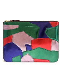 Comme Des Garcons Patchwork Leather Pouch Blue Green Red Pink Multi Coloured
